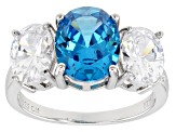 Blue And White Cubic Zirconia Rhodium Over Sterling Silver Ring 8.01ctw