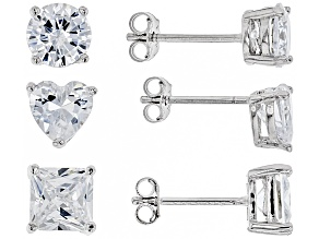 White Cubic Zirconia Rhodium Over Sterling Silver Earrings Set 9.08ctw