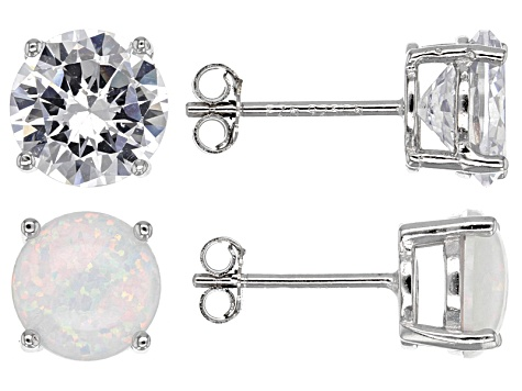 Synthetic Opal And White Cubic Zirconia Rhodium Over Sterling Silver Earrings 9.04ctw