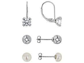 White CZ Gray Manmade Hematine Cultured Freshwater Pearl Rhodium Over Sterling Earrings 2.72ctw