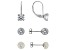 Cubic Zirconia, Gray Manmade Hematine Cultured Freshwater Pearl Rhodium Over Silver Earrings 2.72ctw