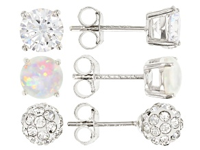 White Lab Created Opal White Cubic Zirconia and White Crystal Rhodium Over Sterling Earrings 3.80ctw