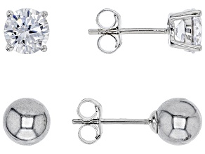 white cubic zirconia and gray manmade hematine rhodium over sterling earrings set 2.72ctw