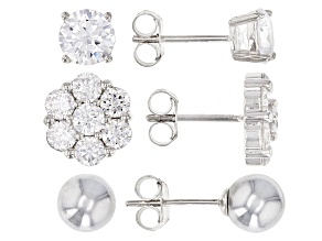 White Cubic Zirconia Rhodium Over Sterling and Hematine Earrings Set 6.01ctw