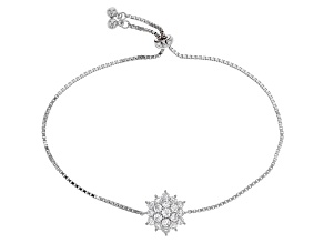 White Cubic Zirconia Rhodium Over Sterling Silver Adjustable Bracelet 2.17ctw