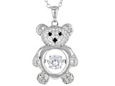 White and Black Cubic Zirconia Rhodium Over Sterling Silver Bear Pendant With Chain 1.65ctw