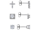 White Cubic Zirconia Rhodium Over Sterling Silver Earrings Set of 3 4.74ctw