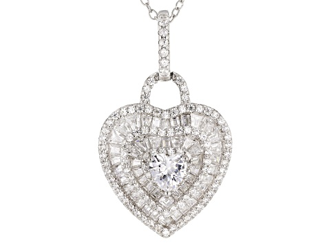 white cubic zirconia rhodium over sterling pendant with chain 3.46ctw