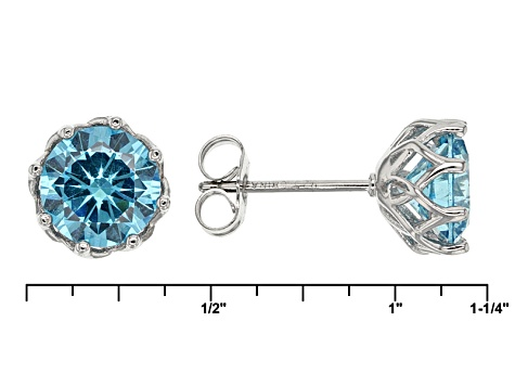 Blue Cubic Zirconia Rhodium Over Sterling Silve Pendant With Chain And Earrings 9.64ctw