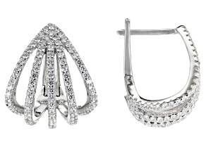 White Cubic Zirconia Rhodium Over Sterling Silver Earrings 2.54ctw