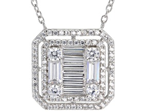 White Cubic Zirconia Rhodium Over Sterling Silver Necklace 3.49ctw