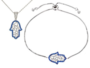 White Cubic Zirconia and Blue Synthetic Spinel Rhodium Over Sterling Silver Jewelry Set 1.95ctw