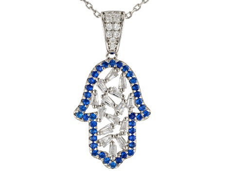 White Cubic Zirconia And Lab Created Blue Spinel Rhodium Over Silver Jewelry Set 1.95ctw