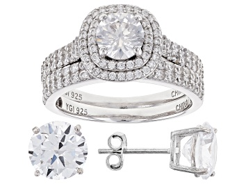 Picture of White Cubic Zirconia Rhodium Over Sterling Silver Ring With Band and Earrings 10.26ctw