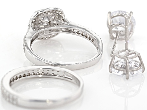 White Cubic Zirconia Rhodium Over Sterling Silver Ring With Band and Earrings 10.26ctw
