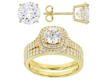 Picture of White Cubic Zirconia 18K Yellow Gold Over Sterling Silver Ring With Band and Earrings 10.26ctw