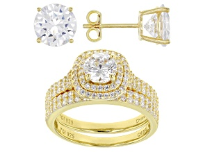 White Cubic Zirconia 18K Yellow Gold Over Sterling Silver Ring With Band and Earrings 10.26ctw
