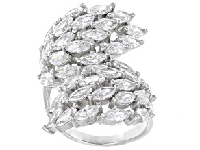 white cubic zirconia rhodium over sterling silver ring 8.66ctw