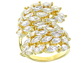 white cubic zirconia 18k yellow gold over sterling silver ring 8.66ctw