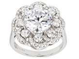 White Cubic Zirconia Rhodium Over Sterling Silver Ring 8.52ctw