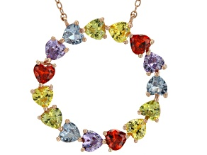 blue synth spinel,green red yellow and purple cubic zirconia 18k rg over sterling necklace 0.55ctw