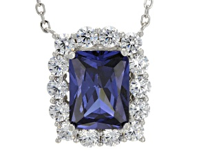 blue and white cubic zirconia rhodium over sterling silver necklace 12.22ctw