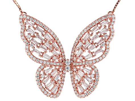 18K Real Rose Gold Heart Shaped Butterfly Necklace with Cubic Zirconia