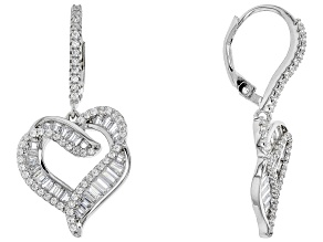 white cubic zirconia rhodium over sterling silver earrings 3.05ctw