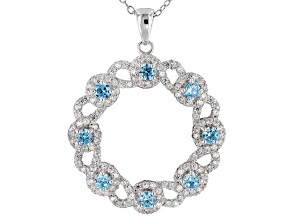 blue and white cubic zirconia rhodium over sterling silver pendant with chain 2.29ctw
