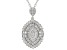 white cubic zirconia rhodium over sterling silver pendant with chain 2.89ctw