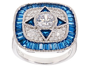 blue synthetic spinel and white cubic zirconia rhodium over sterling ring 4.09ctw
