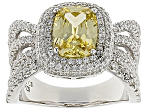 yellow and white cubic zirconia rhodium over sterling silver ring 5.06ctw