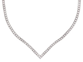 white cubic zirconia rhodium over sterling silver necklace 18.33ctw