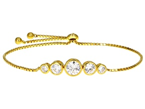 White Cubic Zirconia 18k Yellow Gold Over Sterling Silver Adjustable Bracelet 3.72ctw