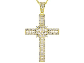 White Cubic Zirconia 18k Yellow Gold Over Sterling Silver Pendant With Chain 3.44ctw