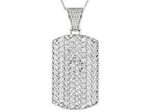 white cubic zirconia rhodium over sterling silver pendant with chain 7.85ctw