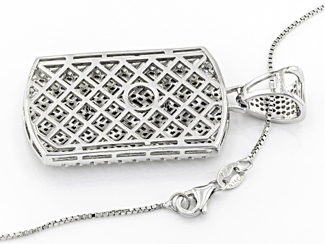 white cubic zirconia rhodium over sterling silver pendant with chain 9.33ctw