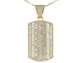 White Cubic Zirconia 18K Yellow Gold Over Silver Pendant With Chain 9.33ctw