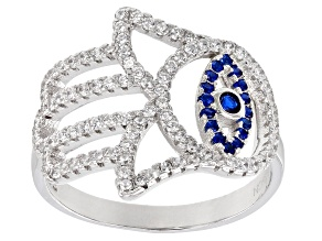 Blue Synthetic Spinel and White Cubic Zirconia Rhodium Over Sterling Silver Ring 0.99ctw