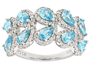 White and Blue Cubic Zirconia Rhodium Over Sterling Silver Ring 4.73ctw
