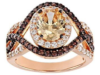 Picture of Champagne Brown and White Cubic Zirconia 18k Rose Gold Over Sterling Silver Ring 4.63ctw