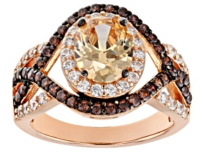 Champagne Brown and White Cubic Zirconia 18k Rose Gold Over Sterling Silver Ring 4.63ctw