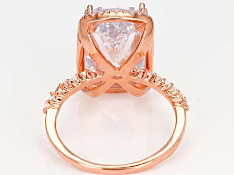 White Cubic Zirconia 18k Rose Gold Over Sterling Silver Ring 11.96ctw