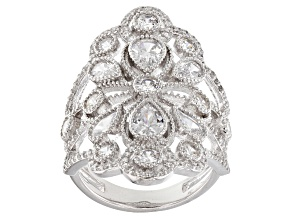 White Cubic Zirconia Rhodium Over Sterling Silver Ring 5.70ctw