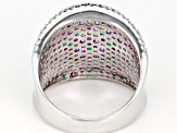 Multicolor Cubic Zirconia and Green Nanocrystal Rhodium Over Sterling Ring 2.92ctw