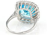 Blue & White Cubic Zirconia Rhodium Over Sterling Silver Ring 12.61ctw