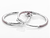 Pink Cubic Zirconia Rhodium Over Sterling Silver Hoop Earrings 0.94ctw