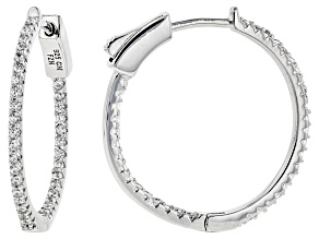 White Cubic Zirconia Rhodium Over Sterling Silver Hoop Earrings 0.94ctw