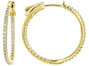 White Cubic Zirconia 18K Yellow Gold Over Sterling Silver Hoop Earrings 1.12ctw