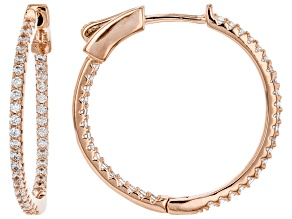 White Cubic Zirconia 18K Rose Gold Over Sterling Silver Hoop Earrings 1.12ctw